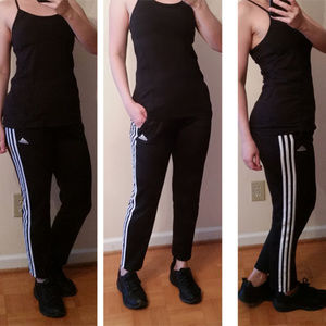 Adidas 3 stripes track pants crop black aprox 4-6
